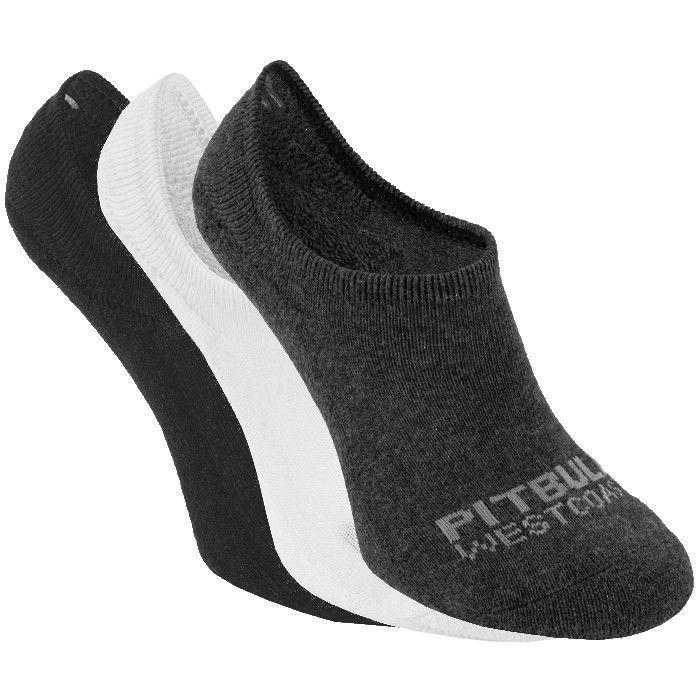 Thin Super No Show Socks 3pack White/Charcoal/Black - pitbullwestcoast
