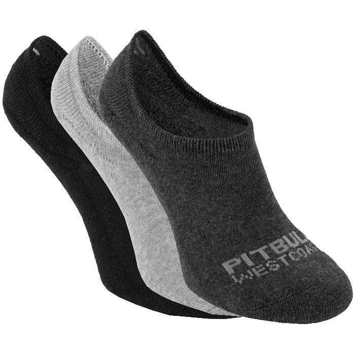 Super No Show Socks 3pack Black/Grey/Charcoal - pitbullwestcoast