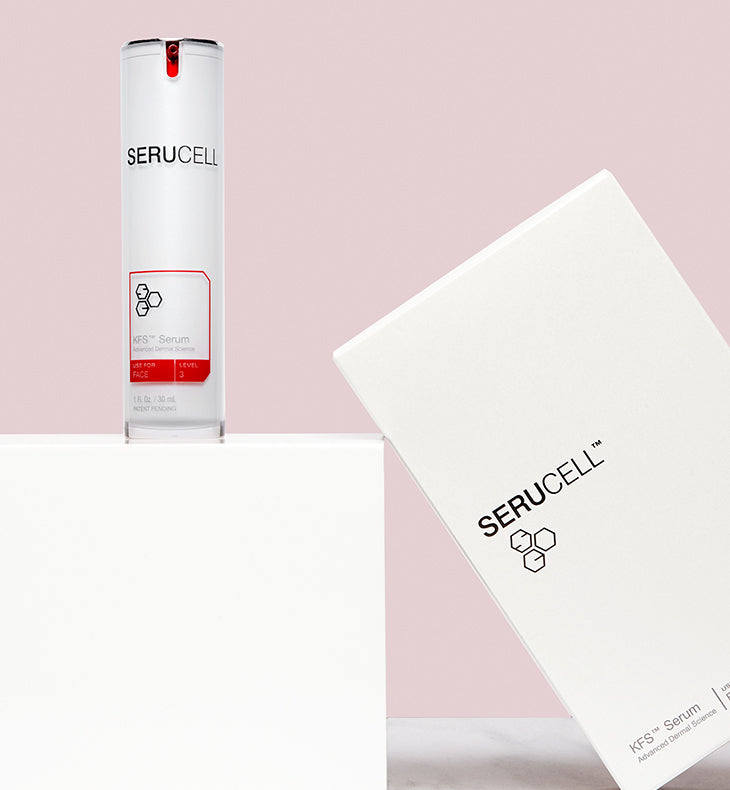 Serucell KFS Facial Serum. Age-defying skincare that works from the inside out.  1500 Natural Proteins, Vitamin A, Vitamin C, Vitamin E, Hyaluronic Acid