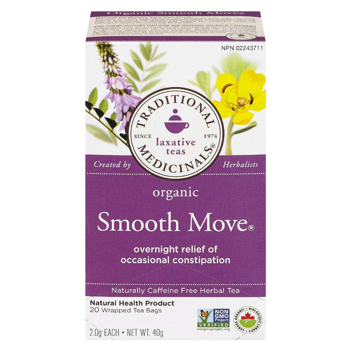 TRADITIONAL MEDICINALS SMOOTH MOVE HERBAL TEA OCCASIONAL CONSTIPATION ORGANIC 20S 40 G