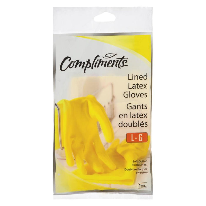 Compliments Lined LARGE Latex Gloves 1UN