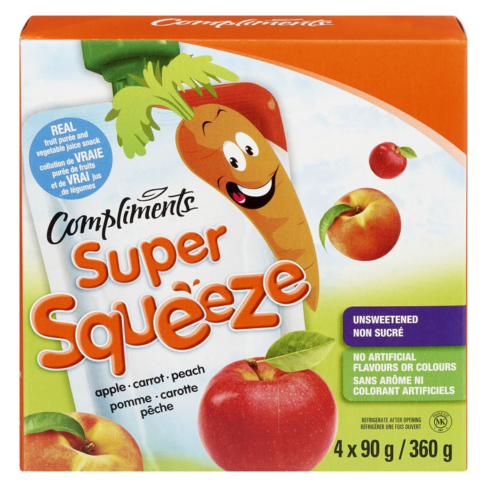 COMPLIMENTS SUPER SQUEEZE SNACK APPLE CARROT PEACH 4S 360 G