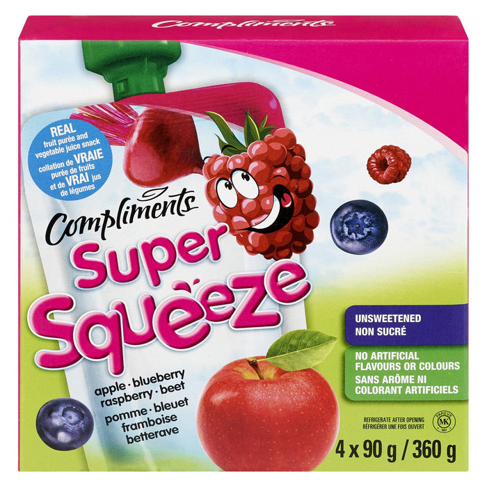 COMPLIMENTS SUPER SQUEEZE SNACK APPLE BLUEBERRY RASPBERRY BEET 4S 360 G