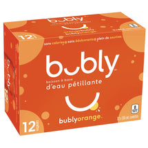 BUBLY ORANGE SPARKLING WATER, 12 x 355 ML