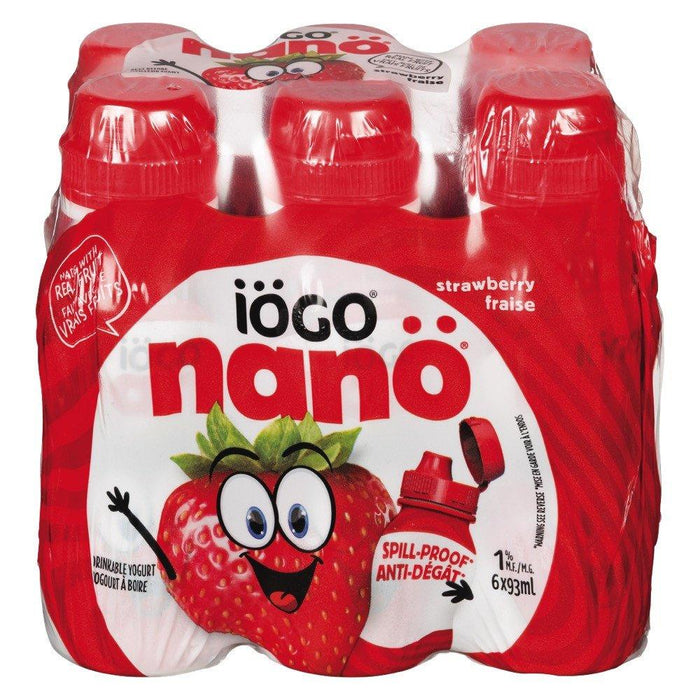 IOGO NANO YOGURT DRINKABLE 1%MF STRAWBERRY 6 x 93 ML