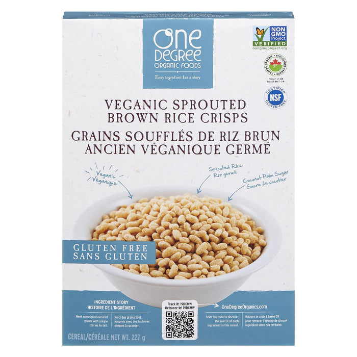 ONE DEGREE ORGANIC FOODS CEREAL VEGANIC SPROUTED BROWN RICE CRISPS 227 G