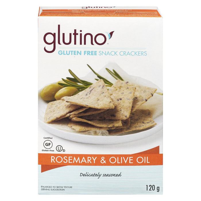 GLUTINO ROSEMARY AND OLIVE OIL CRACKERS GLUTEN FREE 120G