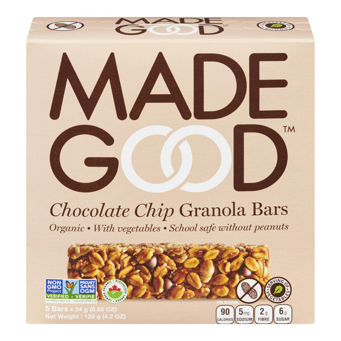 MADE GOOD GRANOLA BARS CHOCOLATE CHIP ORGANIC 5S 120 G