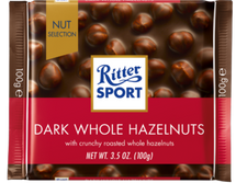 RITTER SPORT CHOCOLATE DARK WHOLE HAZELNUTS 100G