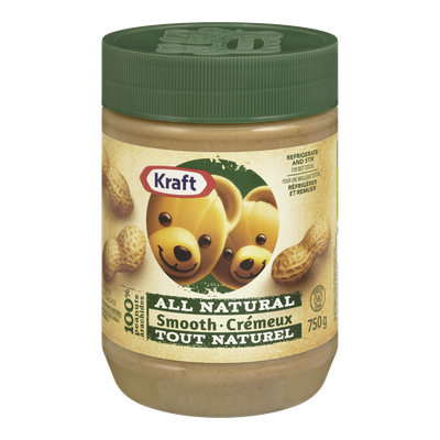 KRAFT ALL NATURAL SMOOTH PEANUT BUTTER, 750G