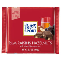 RITTER SPORT MILK CHOCOLATE WITH RUM, RAISINS AND HAZELNUT 100G