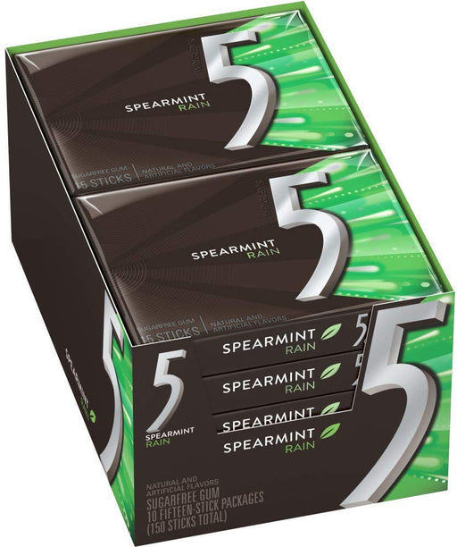 5 SUGAR FREE GUM, SPEARMINT, 10 PACK x 15 UN