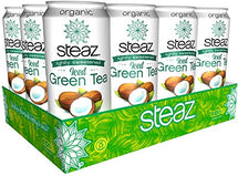 STEAZ ICED TEAZ - ICED GREEN TEA W/ COCONUT WATER ORGANIC - 12X473ML
