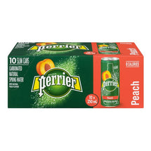 PERRIER CARBONATED SPRING WATER CAN PEACH, 10 X 250ML