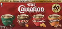 NESTLE CARNATION HOT CHOCOLATE MIX VARIETY PACK, 40 x 25 G