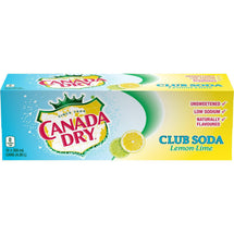 CANADA DRY, CLUB SODA LEMON LIME, 12 x 355 ML