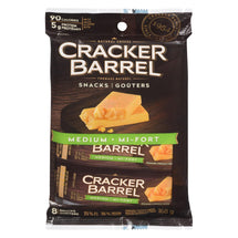 CRACKER BARREL, MEDIUM CHEDDAR CHEESE SNACKS, 8 X 21G