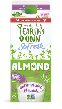 EARTH'S OWN, ALMOND FRESH UNSWEETENED BEVERAGE 1.89 L