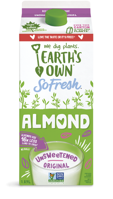 EARTH'S OWN, ALMOND BEVERAGE NO SUGAR ADDED 1.89 L