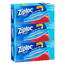 ZIPLOC EASY OPEN FREEZER BAGS LARGE, 3 PACKS OF 40
