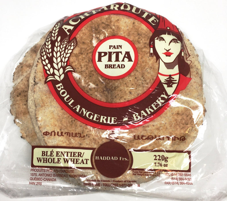 ACHTAROUTE WHOLE WHEAT PITA BREAD 220G