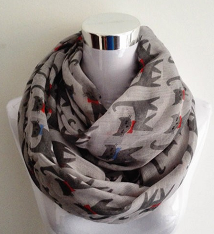 Scarf with Cat Print - Cooper's Closet