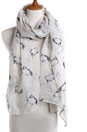 Scarf with Penguin Print - Cooper's Closet