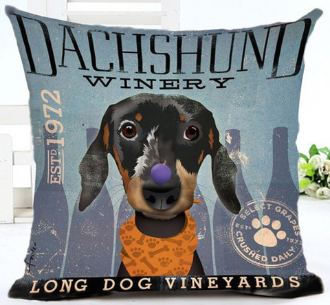 Dachshund Winery Pillow - Cooper's Closet