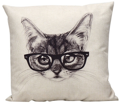 Cat with Glasses Pillow - Cooper's Closet