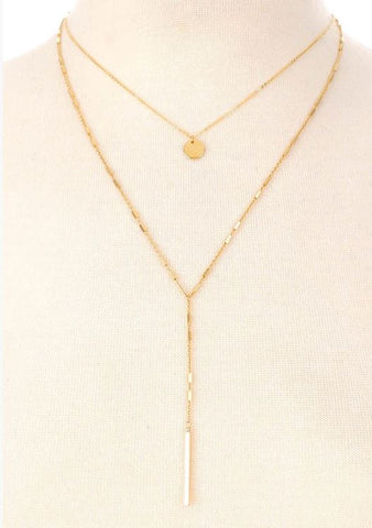 Dainty Layered Bar Drop Necklace
