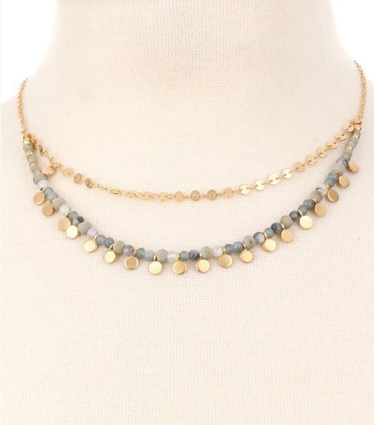 Beaded Stone Layered Necklace