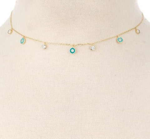 Dainty Gold Plated Sterling Silver Jewel Necklace