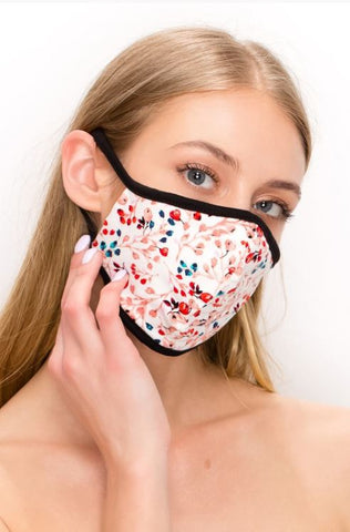 Floral Double Layer Contoured Face Mask.