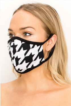 Houndstooth Print Double Layer Contoured Face Mask.