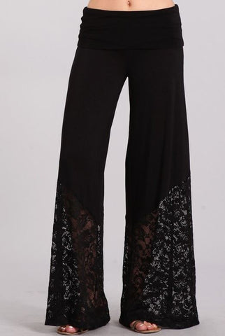 Lace Contrast Palazzo Pants With Fold Over Waistband