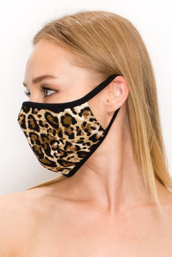 Leopard Print Double Layer Contoured Face Mask.