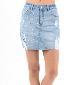 Mini Denim Skirt With Pearl Trim