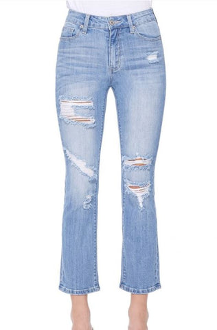 Distressed Straight Cropped Jeans