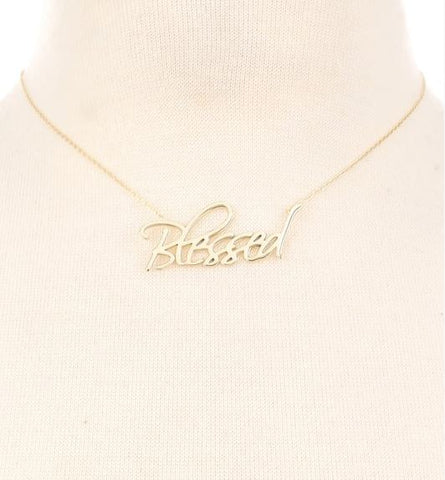 Sterling Silver Scripted Blessed Print Necklace
