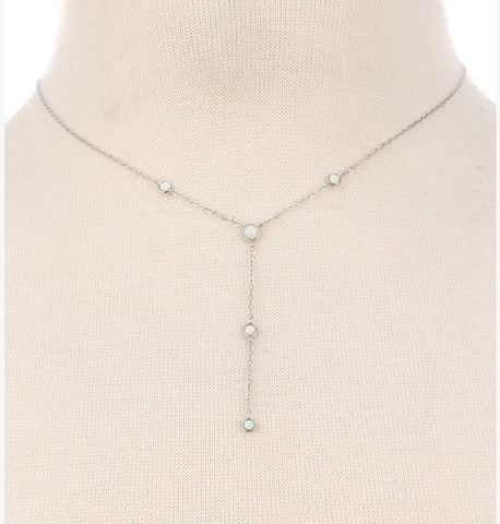 Sterling Silver Dainty Opal Lariat Necklace