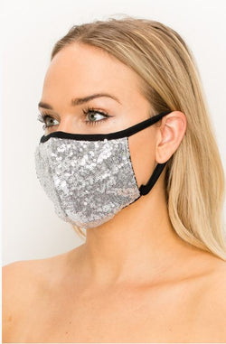 Sequin Double Layer Contoured Face Mask.