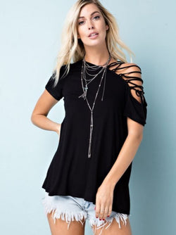 Open Shoulder Lace Up Solid Top