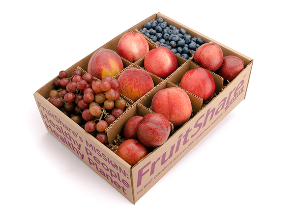 FruitShare™ farm fresh fruit club - organic fruit - half share - summer fruit - rainier cherries