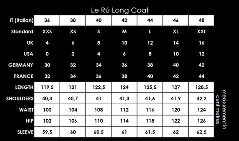 Size chart - Long coat