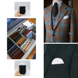 Pocket Square Holder Set for Gentlemen's Suits with Stylish Plain White Square Handkerchief