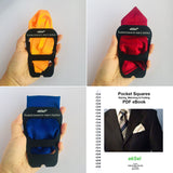 Pocket Square Holders Set for Gentlemen's Suits with Stylish Assorted Plain Color Squares