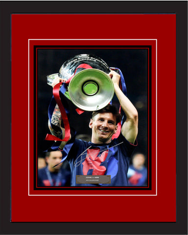"SC - Messi (Barcelona FC) Championship 2015, Signed photography in 20"" x 28"" frame (50cm x 70cm)"