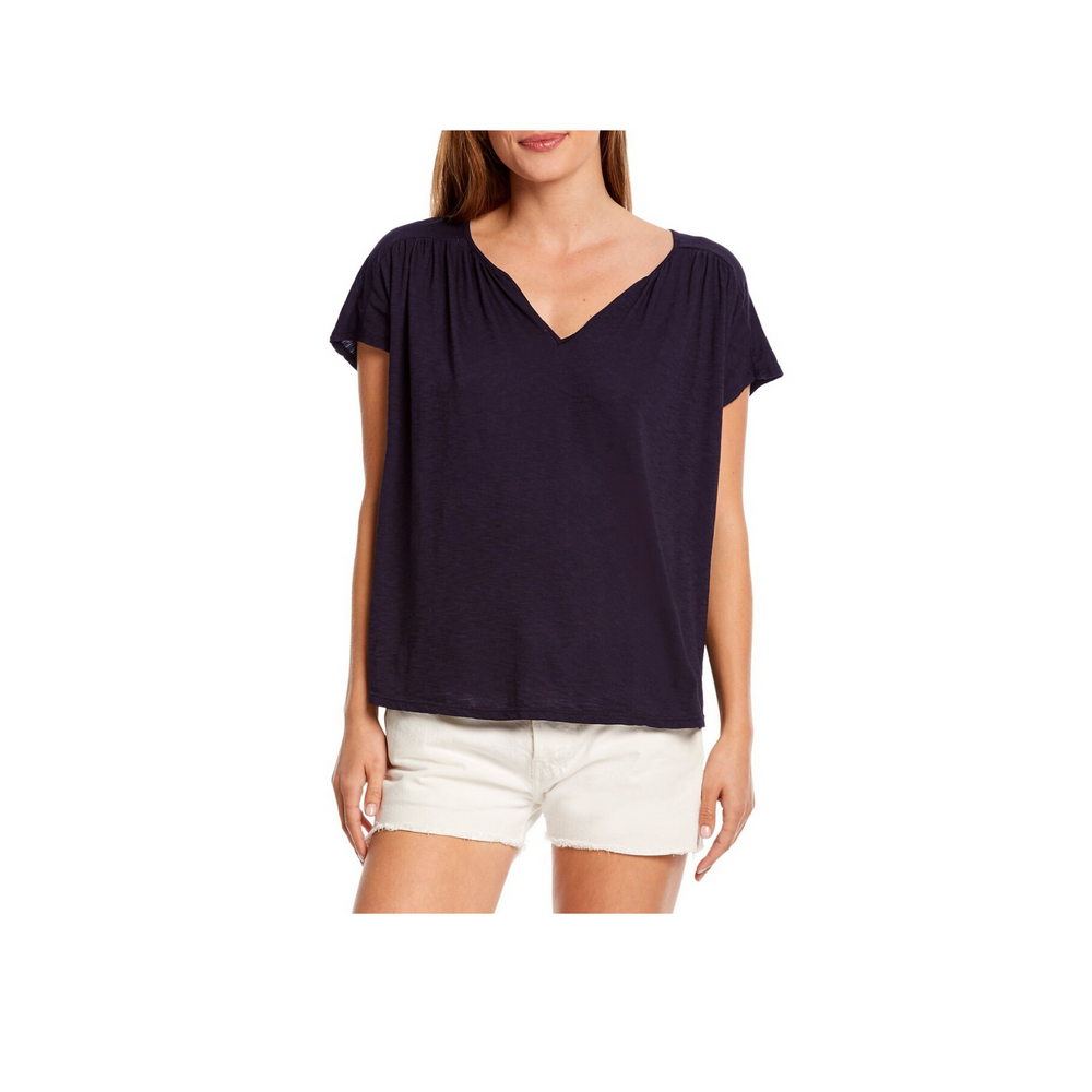 Michael Stars Tammy Shirred Notch Neck Top, Admiral