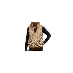 Joy Joy Camel Faux Fur Vest.