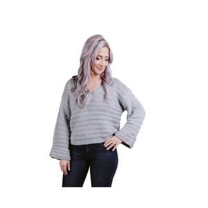 Lumiere Long Sleeve Textured Knit Sweater.
